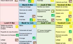Menu de la cantine mai-juin21